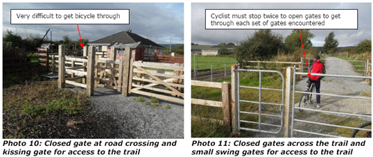 anyone cycling the trail should be prepared to open gates and in some cases lift their bicycle across a gate.